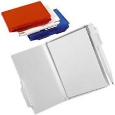Блокнот для записей с авторучкой; белый; 10,5х7,9х1,1 см; пластик; тампопечать