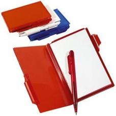 Блокнот для записей с авторучкой; красный; 10,5х7,9х1,1 см; пластик; тампопечать