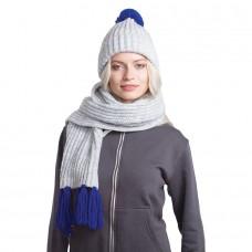 GoSnow, вязаный комплект шарф и шапка, меланж c фурнитурой синий
