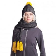 GoSnow, вязаный комплект шарф и шапка, антрацит c фурнитурой желтый